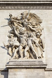 Sculptural Detail on the Arc de Triomphe in Paris. The beautiful sculptural detail on the Arc de Triomphe in Paris, France Royalty Free Stock Photos