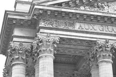 Sculptural detail of Pantheon in Paris. Royalty Free Stock Photography