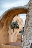 Sculptural Detail and Stairs on Rooftop Casa Mila Stock Photo