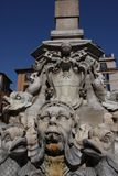Sculptural details in the Piazza del Pantheon, in Rome, Italy. Sculptural details on fountain in the Piazza del Pantheon, in Rome, Italy Royalty Free Stock Photo