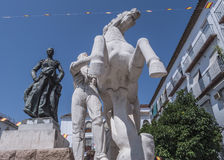 Sculptural ensemble dedicated to the bullfighter Manolete, called `Manuel Rodriguez`, Cordoba, Spain. Sculptural ensemble dedicated to the bullfighter Manolete stock images