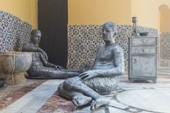 A sculptural exhibition showing the life of the late 19th century in the Turkish bath - Hammam El Basha in the old town of Acre in. Acre, Israel, November 03 Stock Photos