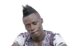 Sculptural face and Mohawk hairstyle royalty free stock photography