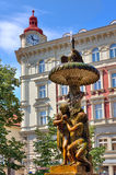 Sculptural fountain in Prague. Royalty Free Stock Photos