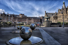 The sculptural group in the center of Sheffield. The sculptural group of balls in the center of Sheffield on the day, the original fountain Stock Photography
