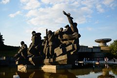 Sculptural group Crossing of the Dnieper, Kiev Stock Photo
