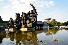 Sculptural group Crossing of the Dnieper, Kiev Stock Photos
