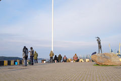 Sculptural group on the embankment of Klaipeda, Lithuania Stock Images