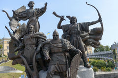 Sculptural Group on Independence Maidan in Kiev Stock Photography