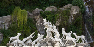 Sculptural group in Italy. The Actaeon sculptural garden fountain group at the Cascade in the park of Caserta Palace (Reggia of Caserta). Campania, Italy Stock Photography
