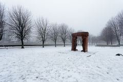 The sculptural group Renaissance in the fog on the island of Kant in Kaliningrad Royalty Free Stock Photography