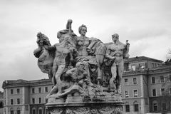 Sculptural group. In Rome, Italy. Black and white Royalty Free Stock Images