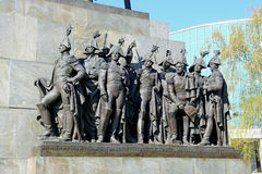 Sculptural group of Russian generals which fought with Napoleon. On April 26, 2014 in Moscow stock images