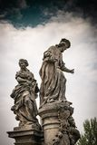 Sculptural group of St. Ivo on Charles Bridge stock photo