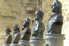 Sculptural images of the great commanders in the open air on the territory of the old fortress in Tighina stock images