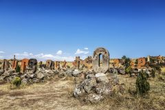 Sculptural monument of the Armenian alphabet,. Armenia stock photography