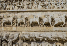 Sculptural relief with the image of living beings Royalty Free Stock Photography