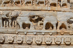 Sculptural relief with the image of living beings Royalty Free Stock Images