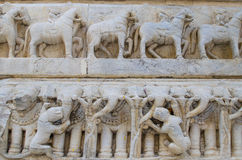 Sculptural relief with the image of living beings Stock Photos