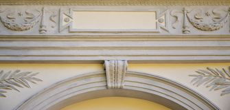 Sculptural relief over the roof of an ancient crypt in Lvi. V stock images