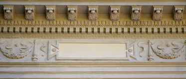 Sculptural relief over the roof of an ancient crypt in Lvi. V stock image