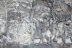 Sculptural walls of Angkor Wat Stock Images