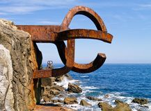Sculpture. Peine de los vientos in Donostia - San Sebastian, Spain Stock Photography