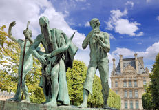 Sculpture. The Sons of Cain (Les fils de Cain) by Paul Landowski in Paris, France Stock Photo