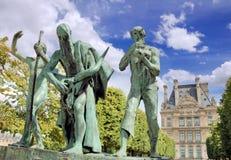 Sculpture. The Sons of Cain (Les fils de Cain) by Paul Landowski in Paris, France stock photo