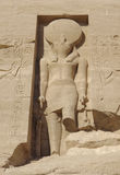 Sculpture at the Abu Simbel temples. Architectural detail of the historic Abu Simbel temples in Egypt (Africa) with stone made sculpture royalty free stock images
