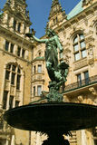 Sculpture against a palace. Sculpture with the palace in Background Stock Photo