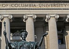 Sculpture of Alma Mater at Columbia University. Sculpture of Alma Mater in front of the Low Memorial Library on the Morningside Heights campus of Columbia Stock Images
