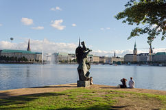 Sculpture Alster Lake Stock Image