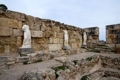 Sculpture in ancient bath in Salamis Stock Photos