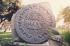 Sculpture of Ancient Mayan Calendar Stock Photography