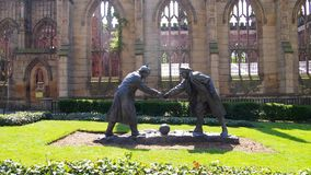 The `Truce`-sculpture in the city centre of Liverpool, England royalty free stock photography