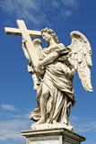 Sculpture of angel with cross. Rome, Italy. Royalty Free Stock Photo