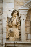 Sculpture of angel in facade, Catholic Wedding Church in Cana, Israel Stock Images