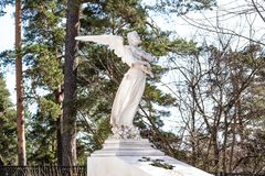 Sculpture of an angel lamenting the sins of people stock images