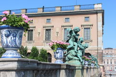 The sculpture of angels beside the Royal Palace in Stockholm. Royalty Free Stock Photo
