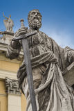 Sculpture of the Apostle Paul. The sculpture of the Apostle Paul to the Basilica of St. John the Apostle and Evangelist, St. Michael and the Immaculate royalty free stock images