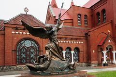 Sculpture of Archangel Michael with the inscription - Defenders stock image