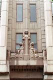 Sculpture architecture Helsinky. Helsinky building architecture, women and girls sculptures stock photo