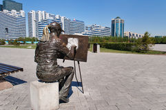 Sculpture The artist in Astana Stock Photo
