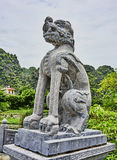Sculpture of asian temple with stone carving.  stock images
