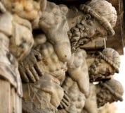 Sculpture atlanta. sculpture Atlanteans hold the house. Sculpture Atlanteans hold the house. Five large sculptures of Atlanteans royalty free stock image