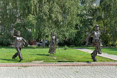 Sculpture Attention, Filming! in Barnaul, Russia Stock Photography