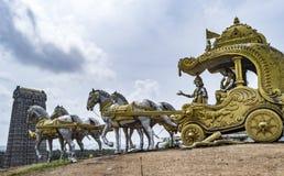 Bhagavat Gita - Scene in Mahabharatham. Sculpture of the bagavath gita scene , in which Lord krishna advices Arjuna on the way of life stock photos