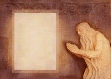 Sculpture baroque d'aîné saint, prière dans une caverne Peut être employé comme fond pour le texte de la prière Forme d'invitatio Image libre de droits