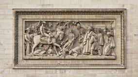 Sculpture of Battle of Abukir, detail of Arc de Triomphe, Paris. Bas relief stone Sculpture of Battle of Abukir, detail of Arc de Triomphe, Paris Royalty Free Stock Photo